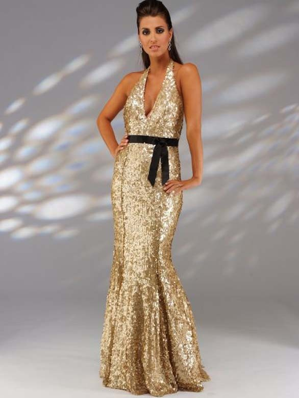 sexy glitzer abendkleid gold r ckenfrei mit neckholder. Black Bedroom Furniture Sets. Home Design Ideas