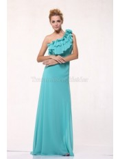 Enges Ein Schulter Sweep train Ballkleid aus Chiffon