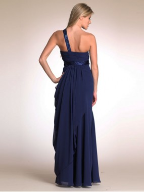 Elegante One Shoulder Abendkleider Empire Chiffon Dunkelblau