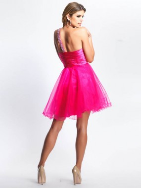 Süße One Shoulder Minikleider Pink
