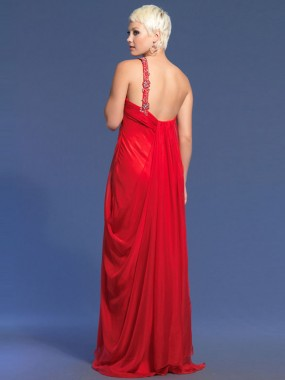 Elegante One Shoulder Ballkleider Empire Rot Chiffon Lang