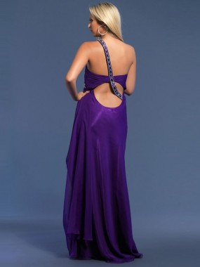 Exquisite One Shoulder Ballkleider Lila A-Linie Chiffon Lang