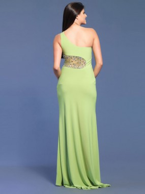 Exquisite One Shoulder Abendkleider A-Linie Chiffon Grün