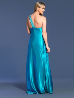 Elegante One Shoulder Abendkleider Blau Satin lang