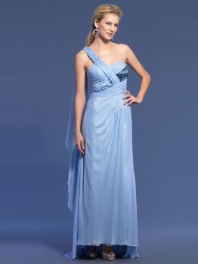 Exquisite One Shoulder Abendkleider Chiffon Lang