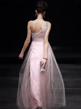 Exquisite One Shoulder Abendkleider A-Linie Tüll Rosa Lang