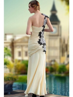 Exquisite One Shoulder Abendkleider Chiffon Champagner Lang