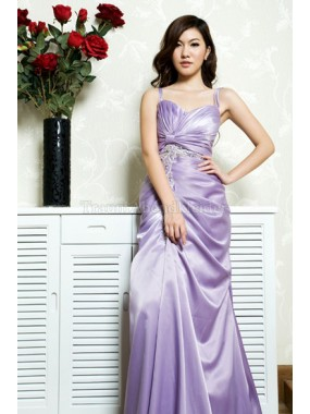 Seide wie Satin Empire luxus Abendkleid mit Applike
