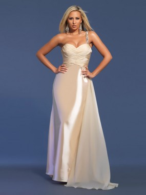Exquisite One Shoulder Abendkleider lang mit Schleppe