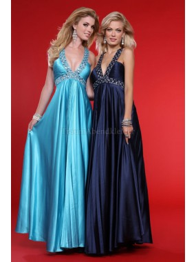 Seide wie Satin stilvolles bodenlanges Ballkleid mit Empire Taille