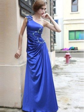 Exquisite One Shoulder Abendkleider Blau A-Linie Satin lang