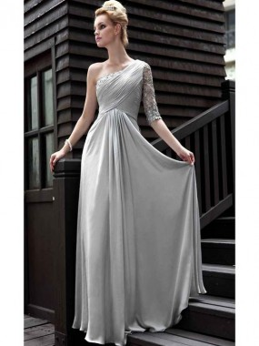 Exquisite One Shoulder Abendkleider Grau A-Linie Satin lang