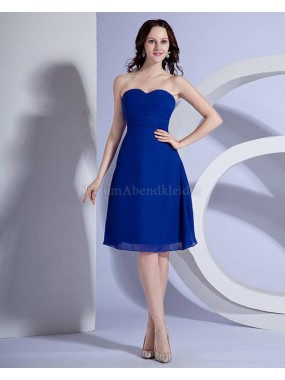 A-Linie normale Taille Chiffon knielanges Brautjungfernkleid