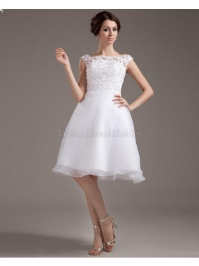 A-Line Organza normale Taille knielanges Brautkleid