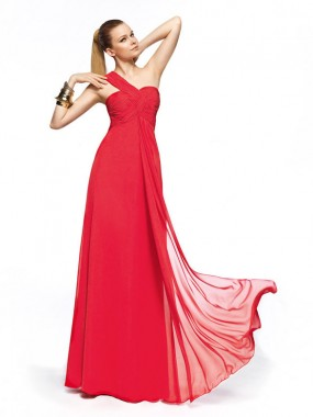 Elegante A-Linie One Shoulder Brautjungfernkleider Rot