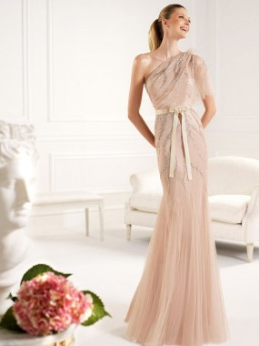 Exquisite One Shoulder Abendkleider Meerjungfrau Champagner